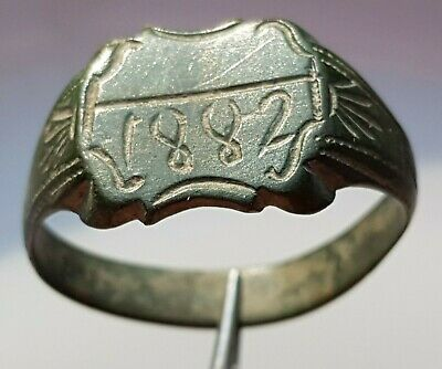 Perfect OLD BRONZE RING with engraved year 1882