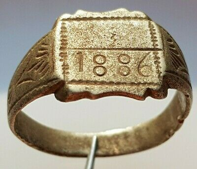 SILVER ANCIENT RING with engraved year 1886
