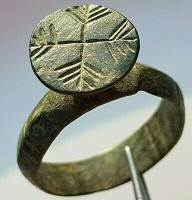 Large Byzantine Serbia Stamp Ring Cross 4 Arrows