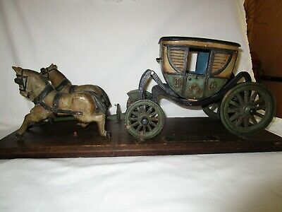 Antique Schoenhut toy George Washington Private Horse Drawn Carriage Wood model