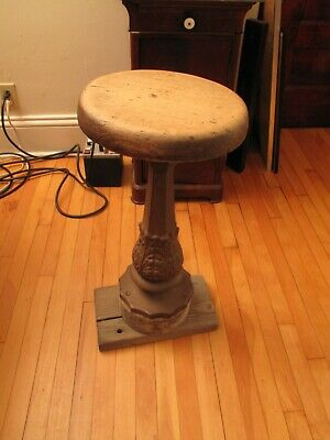 Antique Victorian Ice Cream Parlor Stool Ornate Cast Iron Base American Stool Co