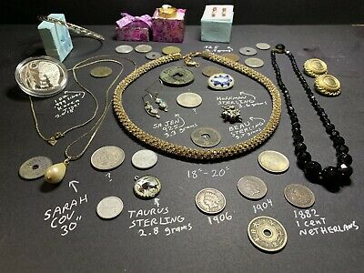 Junk Drawer Estate Lot Vintage  925 Sterling Jewelry Silver Coins Gold Tone Ring
