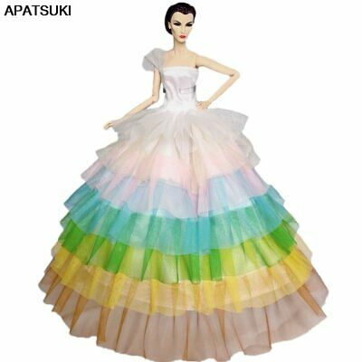 "Rainbow Fashion Doll Dress For 11.5"" Doll Clothes Evening Gown Wedding Dresses"