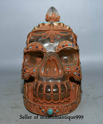 "6.4""Old Tibet Crystal Filigree Turquoise Carved human skeleton Skull Head Statue"