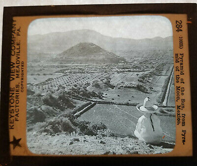 ANTIQUE KEYSTONE GLASS CAMERA SLIDE (284)Pyramid of the Sun (from moon) Mexico