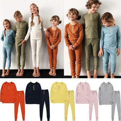 Kids Long Sleeve Solid Color Pyjamas Boys Girls Pyjamas Outfits Set Age 2-6Years