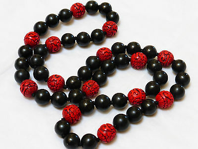 CHINESE VINTAGE RED & BLACK CINNABAR 15mm BEADS NECKLACE, NO CLASP