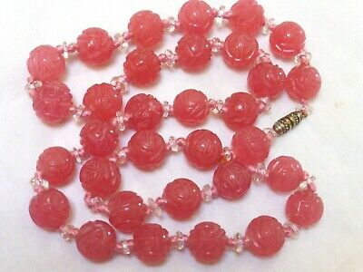 CHINESE ANTIQUE /Vintage PINK CARVED SHU PEKING GLASS BEADS NECKLACE