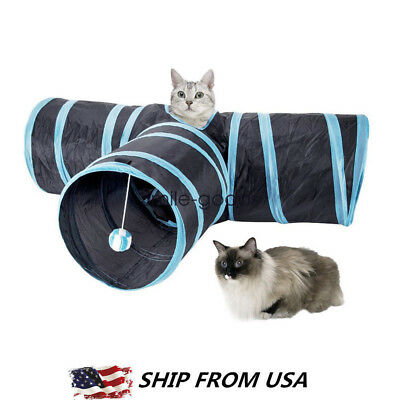 Collapsible Pet Cat Rabbit Tunnel/Bag Y Shape 3 Ways Interactive Cat Toys Tunnel