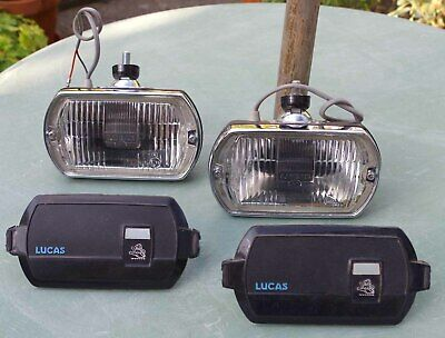 2x Lucas Square Eight fog lamps with covers - classic cars 1960's -80's - unused