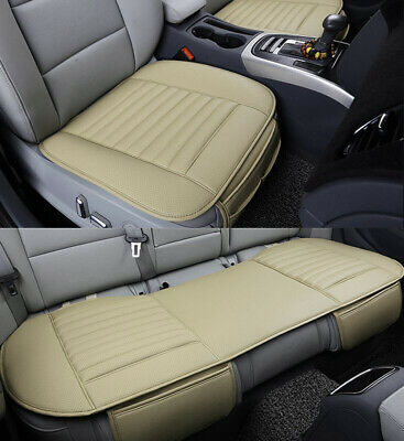 3X Beige UNIVERSAL FRONT & REAR CAR AUTO SEAT COVER PROTECTOR MAT CUSHION PAD
