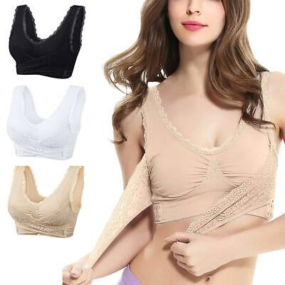 Clothes, Shoes & Accessories Lady  Front Cross Side Buckle Wireless Lace Bra Breathable for Women Sport R6H2 Women's Bras & Bra Sets