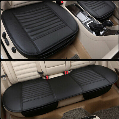 3Pc Universal Front & Rear Car Auto Seat Cover Protector Mat Cushion Pad Black