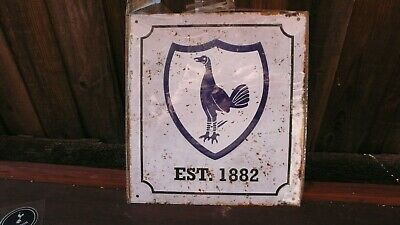 Tottenham Hotspur FC Official Metal Retro Sign Est 1882 Approx Size 25cm x 23cm