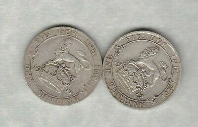 Two 1911 & 1912 George V Silver Shillings Fine To Good Fine Condition