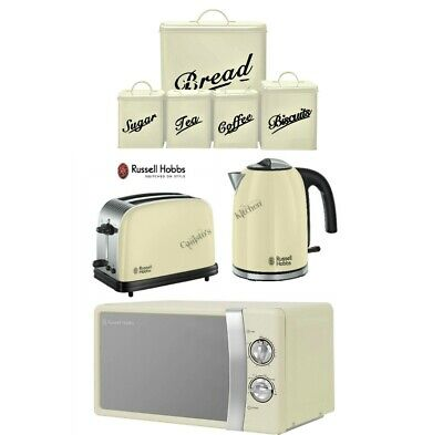 Cream Russell Hobbs Colours Kettle and Toaster Set + Microwave With Canisters