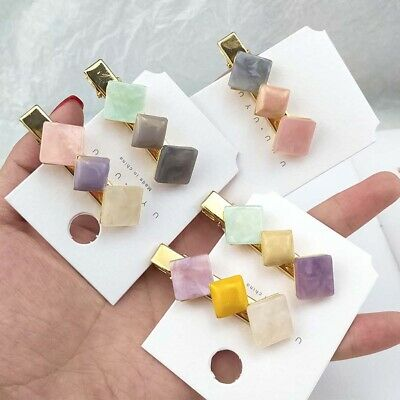Sweet Girls Cream Color Square Hair Side Clip Barrette Hairpin Women Accessories