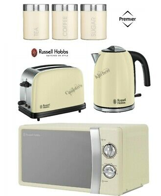Russell Hobbs Colours Cream Kettle and Toaster Set + Microwave With Canisters