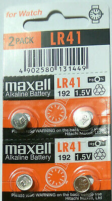 4 x Maxell LR41 AG3 192 1.5V Alkaline Cell Coin Button Batteries New Stock SALE