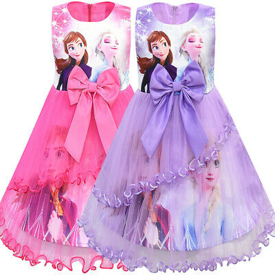 New Frozen Nightdress Cartoon Ruffle Dress Toddle Girls Kid Home Pajamas