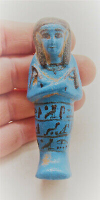Beautiful Ancient Egyptian Faience Ushabti Shabti With Heiroglyphics 664-332Bce