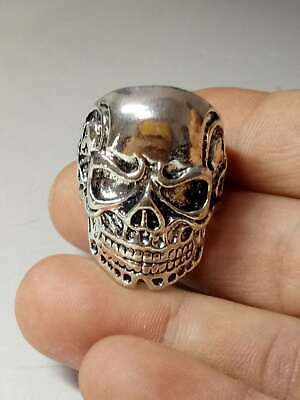 Chinese Collectable Tibet Silver Hand Carved Skull Ring x601