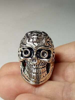 Chinese Collectable Tibet Silver Hand Carved Skull Ring   X430