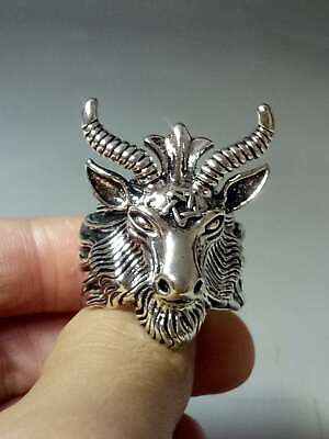 Chinese Collectable Tibet Silver Hand Carved Goat Head Ring   X509