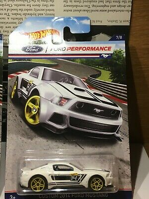 Hot Wheels Custom 2014 Ford Mustang, 2016 Ford Performance,White On Card