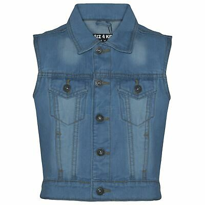 Kids Boys Denim Light Blue Jacket Faded Jeans Gilet Sleeveless Jackets Coat 3-13