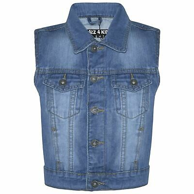 Kids Boys Denim Mid Blue Jacket Faded Jeans Gilet Sleeveless School Jacket Coats