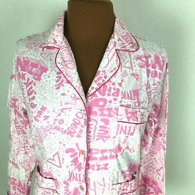 Victorias Secret Pink Womens Pajama Shirt XS Button Down Long Sleeves Sleep Top