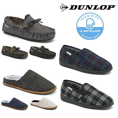 Dunlop Mens Slippers Slip On Mules / Twin Gusset / Moccasins Memory Foam Boxed