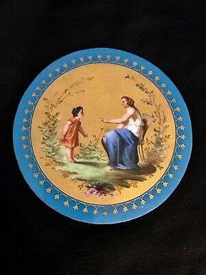 Antique Hand Painted Porcelain Plaque French Or German Round Made In 19 Cen.