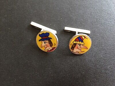 Solid Silver Hallmarked  Hand Painted Enamelled London Punch and Judy Cufflinks
