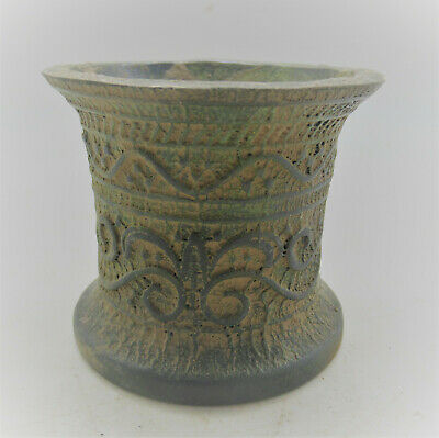Late Roman/Early Byzantine Bronze Offering Vessel With Floral Motifs 300-500Ad