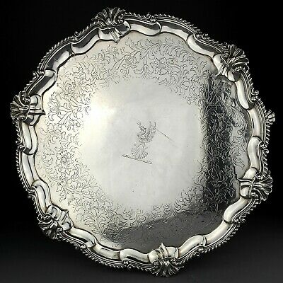LARGE Ornate Antique Georgian Solid Sterling Silver Salver/Tray. 1759. 1,720g.