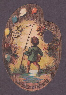DS Brown Soap Die-cut Pallet Victorian Trade Card Boy Fishing
