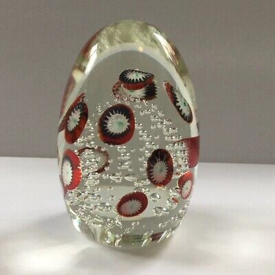 Murano Art Glass Millefiori Egg Paperweight Red White Blue Controlled Bubbles