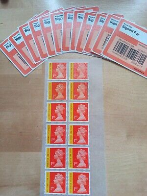 12 Royal Mail First Class Signed For stamps off paper unfranked f/v £23.80