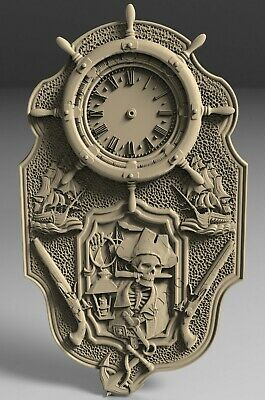 3D STL Model # WALL CLOCK SEA PIRATE# for CNC 3D Printer Engraver Carving Aspire
