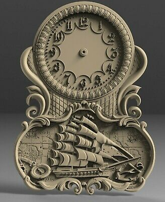3D STL Model # WALL CLOCK SEA SHIP # for CNC 3D Printer Engraver Carving Aspire