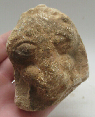 Very Unusual Ancient Chinese Stone Fragment Depicting Lion Face