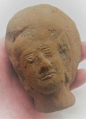 Ancient Indian Mauryan Statue Fragment Male Head Circa 200Bc-200Ad Rare