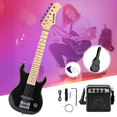 "Full Size 39"" Electric Guitar w/ 20W Amp, Case and Accessories Pack Black&White"