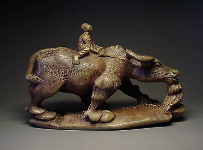 Antique Chinese Green Jade Carved Boy Riding On Water Buffalo, Qing Dynasty