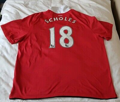 Manchester United Home Shirt - Scholes 18 2010/11 - Mens Chest Size - 52 inches