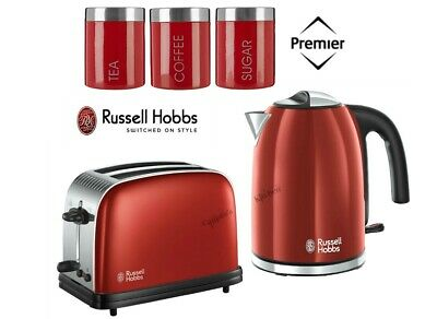 Red Russell Hobbs Colours Plus Kettle and Toaster Set With Canisters - New