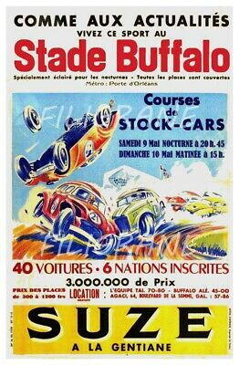 STADE BUFFALO STOCK CARS Rf46-REPRODUCTION 40x60cm d'1 AFFICHE VINTAGE/RéTRO