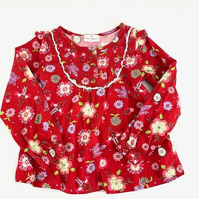 Hanna Andersson Red Floral Shirt Long Sleeve 120 US Sz 6-7 Yr